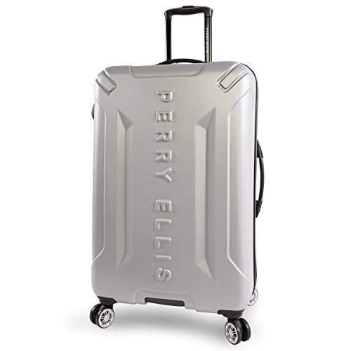 Perry Ellis Delancey II 29' Hardside Checked Spinner Luggage, Silver