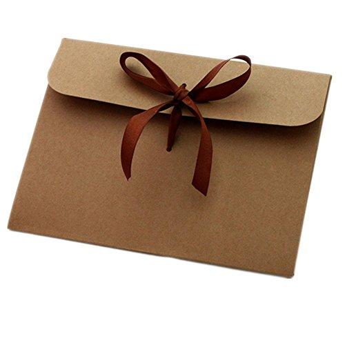 Enveloppen van kraftpapier, 20 stuks, enveloppen van kraftpapier, met strik, 127 x 162 mm, ideaal voor bruiloft, uitnodigingskaarten, verjaardagen, wenskaarten, feestjes