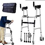 Gehwagen für Senioren Walking Frames Ältere Menschen Faltbarer Walker - Einstellbarer Laufassistent Ausgestattete Räder mit Armlehnenauflage für die eingeschränkte Mobilität mit Behinderung - Rehabili -