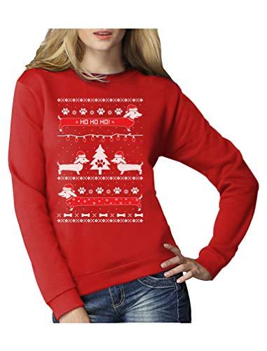 Green Turtle T-Shirts Weihnachtspullover Hundeliebhaber Dackel Frauen Sweatshirt Small Rot