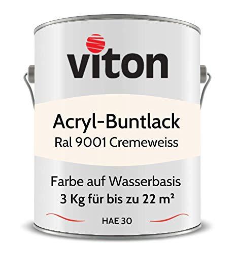 Buntlack von Viton - 3 Kg Weiss - Seidenmatt - Wetterfest für Außen und Innen - 2in1 Grundierung & Lack - HAE 30 - Nachhaltige Farbe auf Wasserbasis für Holz, Metall & Stein - RAL 9001 Cremeweiss