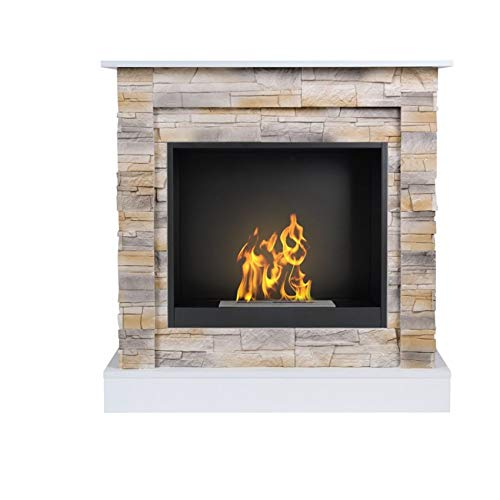 Aflamo Bio-Fireplace Vigo Stone with Insert Organic 60 Desert/White
