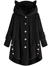 Lfhing Vrouwen Winter Jas Hooded Knop Losse Hoodies Plus Size Kitty Oor Warm Sweatshirt