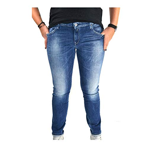 Replay Dames Broek Jeans Katewin Slim Fit Blauw - Mid Blue Staplengte L32
