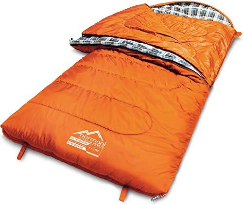 normani 4-in-1-Funktion Extrem Outdoor Schlafsack 'Antarctica' aus Nylon Rip-Stop mit 500 + 250 g/m² Hollow Fiber Füllung 220 x 90 cm Farbe Limited Orange Größe Links