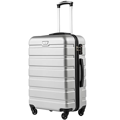 COOLIFE Suitcase Trolley Carry On Hand Cabin Luggage Hard Shell Travel Bag Lightweight 2 Year Warranty Durable 4 Spinner Wheels(Silver, S(56cm 38L))