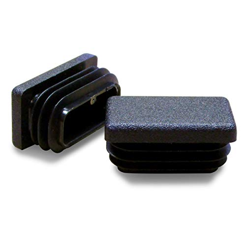 ajile - 4 pièces - Embout à lamelles rectangulaire pour tubes 35 x 20 mm - NOIR - EPG135-M