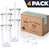 Vasos de Plástico Duro con Tapa y Pajita - Libre de BPA - Incluye Pegatinas Reutilizables y eBook de Coctelería - Set de 4 Vasos plasticos Reutilizables Transparentes de 700 ml - Marfrand