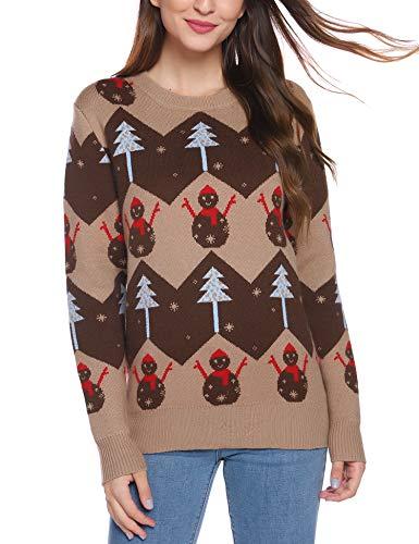 iClosam Herren Weihnachtspullover Lustige Strick Christmas Sweater Pullover mit Rundhalsausschnitt (Brown, S)
