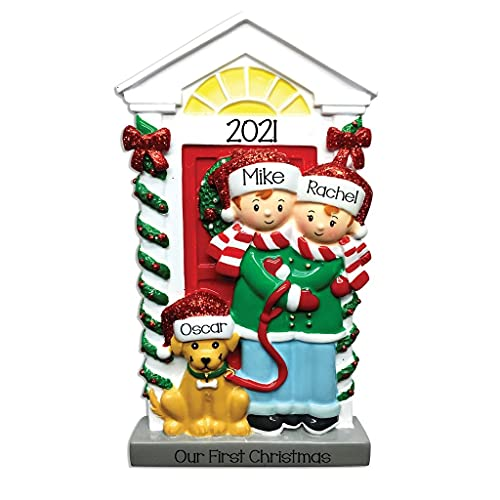 2021 Personalized Ornament Couple with Dog Christmas Tree Ornament Handwritten Customized Decoration Wedding Ornament-Free Personalization