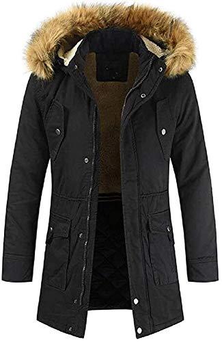CHMAK Chaqueta de forro polar para hombre, de longitud media, con capucha, estilo militar negro XL