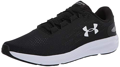 Under Armour mens Charged Pursuit 2 Running Shoe, Black/White, 9.5 US