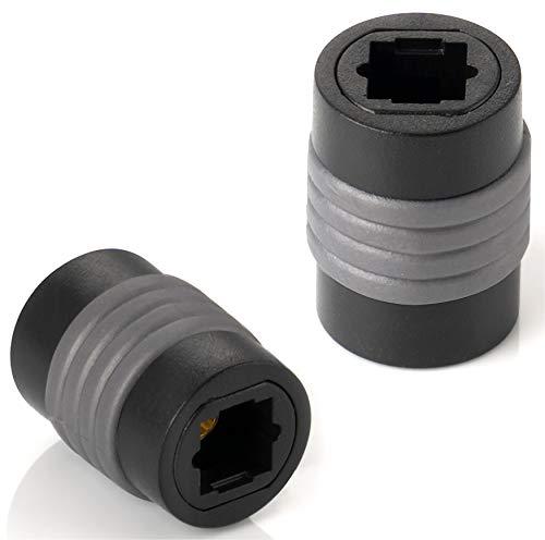 Poppstar 2X Toslink Adapter (Kupplung Toslink Buchse auf Buchse), Verlängerung für Toslink Optisches Digital-Audiokabel (TOS Kabel), S/PDIF Kabel