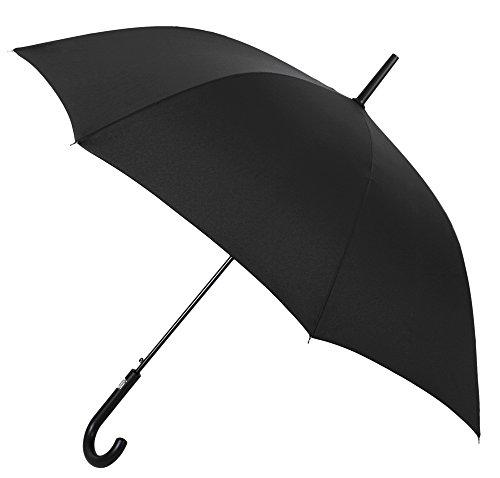 Paraguas Vogue automático. Paraguas Largo para Hombre. Fabricado en Fibra de Vidrio. Paraguas antiviento. Paraguas Negro.