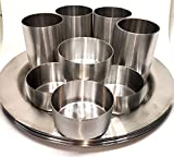 G.V.UTENSILS Stainless Steel Dinner Set with 4 Glasses, 4 Plates and 4 Katori