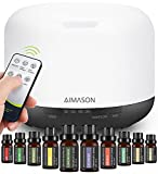 AIMASON 500ML Aroma Essential Oil Diffuser with 10Pcs Pure Essential Oil Gift Set, Cool Mist with 4 Timer Setting, 7 Colour Lights, Electric Waterless Auto Shut-Off Air Diffuser Humidifier for Home