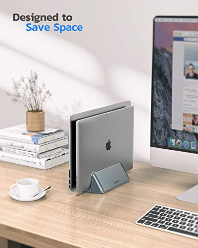 Nulaxy Soporte Vertical Dual para Ordenador Portátil, Doble Aluminio Soporte de Escritorio con Base Ajustable… 2