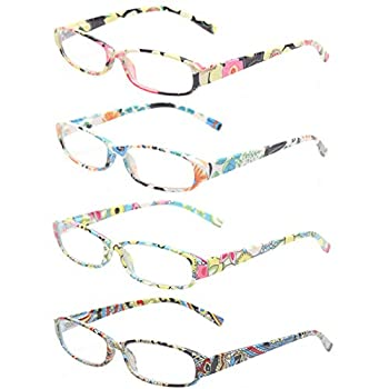 Reading Glasses 4 Fashion Women Eyeglasses With Floral Design Classic Spring Hinge Readers  2.50 4 Pack Mix Color