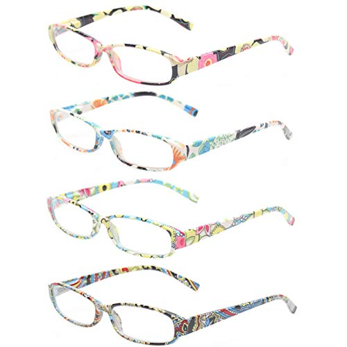 Reading Glasses 4 Fashion Women Eyeglasses With Floral Design Classic Spring Hinge Readers (1.50, 4 Pack Mix Color)