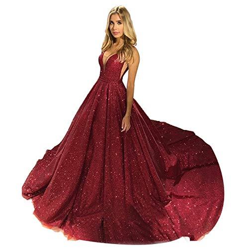 Fankeshi Damen Bling Bling A-Linie Abschlussball Pailletten Quinceanera Ballkleid Brautschmuck Abendkleid Hochzeitskleid - Rot - 40