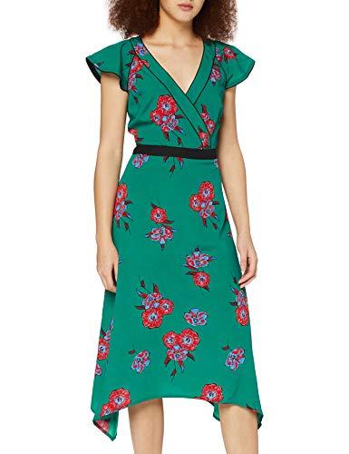 Marchio Amazon - find. Donna Vestito Midi a Portafoglio a Fiori, Verde (Green), 42, Label: S