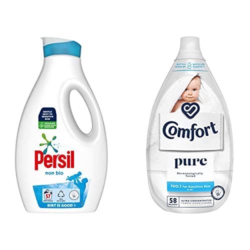 Persil & Comfort Non Bio Liquid Detergent & Ultra Concentrated Pure Fabric Conditioner Sensitive Skin Laundry Bundle 57 Wash