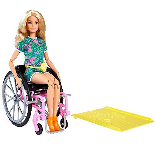 Barbie GRB93 - Fashionistas Puppe mit Rollstuhl und langen blonden Haaren, Jumpsuit mit Tropenmuster, orangenen Schuhen und Zitronen-Gürteltasche, Spielzeug für Kinder von 3 bis 8 Jahren
