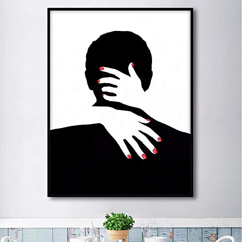 Frameloos Zwart-wit eenvoudig schilderij paar knuffelen foto Cuadros Decoracion canvas figuur schilderij voor woonkamer <> 50x60cm