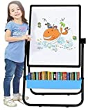 ❤Bonus accessories—This drawing board consists of deluxe accessories. It includes 1 storage box, 54 pcs colorful magnetic letters and math set, 3 magnetic buckles, 3 marker pen, 1 chalk cover, 1 eraser, 1 box dust-free chalk, 1 ruler and 4 anti-slip ...