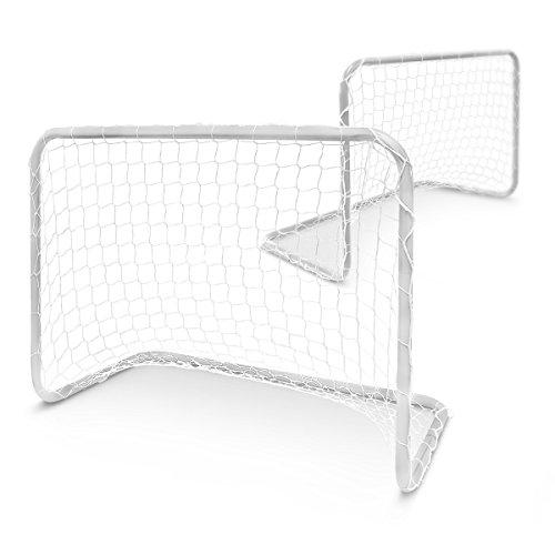 Relaxdays Fußballtor Kinder 2er Set, Mini-Fußballtore, Minitor Set, Metall, H x B x T: 57 x 78 x 46 cm, Tornetz, weiß