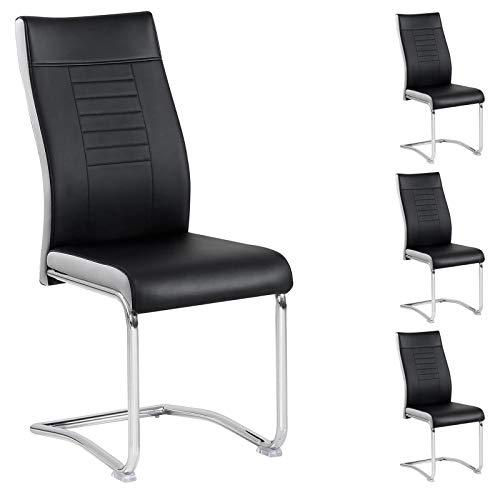CARO-Möbel 4er Set Esszimmerstuhl Küchenstuhl Schwingstuhl Loano, Gestell in Chrom, Bezug aus Lederimitat in schwarz/weiß