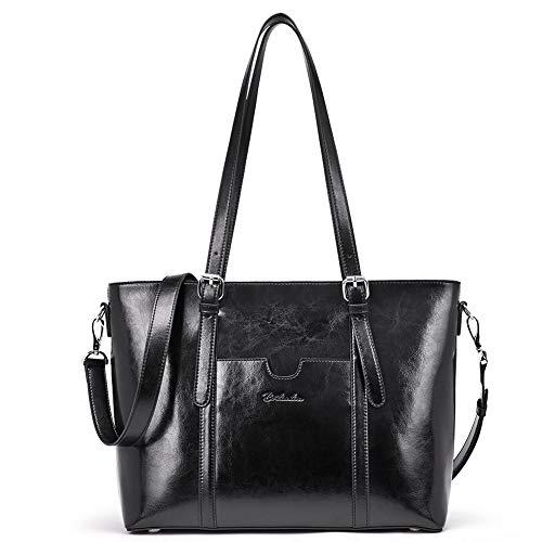 BOSTANTEN Damen Ledertaschen Schultertasche Frauen Designer Handtasche 14 15.6 Zoll Laptoptasche Tote Bag Schwarz