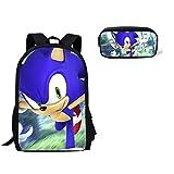 XINXIANG Sonic Bag 2pcs/set New Children Bookbag Sonic the Hedgehog 3D Impreso Mochila escolar de dibujos animados Set Niños Niñas Niños Escuela Bolsa