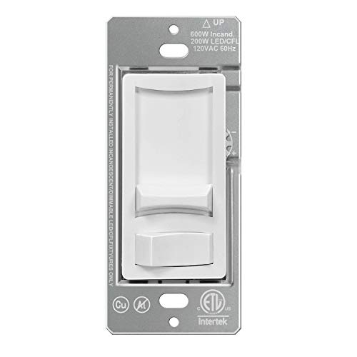 BESTTEN Dimmer Switch for Dimmable LED, CFL, Halogen and Incandescent Bulb, Ultra Slim Series, Single-Pole or 3-Way, Rocker Light Switch, ETL Listed, White