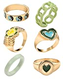 Chunky Rings Colorful, Trendy Resin Acrylic Open Stackable Finger Knuckle Y2K Rings for Women (Color 5)