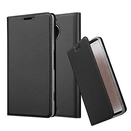 Cadorabo Hülle für Nokia Lumia 950 XL - Hülle in SCHWARZ – Handyhülle mit Standfunktion & Kartenfach im Metallic Erscheinungsbild - Hülle Cover Schutzhülle Etui Tasche Book Klapp Style