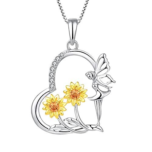 FJ Collar de ángel de la guarda de plata de ley 925 con colgante de hada con circonita cúbica, regalo para mujeres y niñas