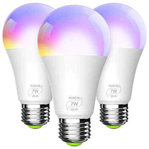 BERENNIS Bombilla Inteligente, RGBCW WiFi Focos Regulable Luces LED Multicolor, Compatible con Alexa, Google Home e IFTTT, No Eequiere Hub, A19 RGBCW (equivalente a 60W) 3 Unidades