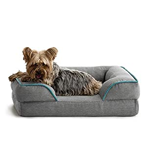 BrindleOrthopedic Memory FoamPet Bedwith Wrap Around Bolster– Plush Dog and Cat Bed–Removable VelvetCover, Medium, Dove Grey