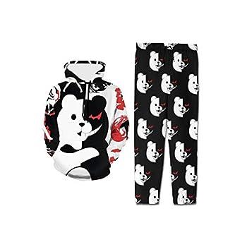 Danganronpa Villain Kyoko Monokuma Hoodie and Sweatpants Sweatshirt Set for Boys Girls Youth Black