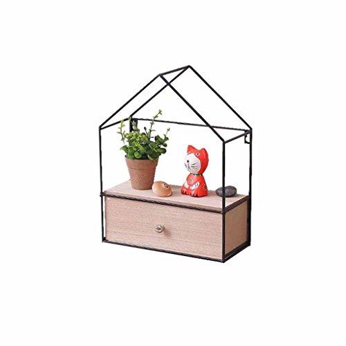 LXESWM Plantenrek, plantenrek, plantenrek, planken, zwemdok, wandbevestiging, ijzer en hout, opslag, decoratie, plank, balkonbakhouder, shingle-kisten, één frame met lade