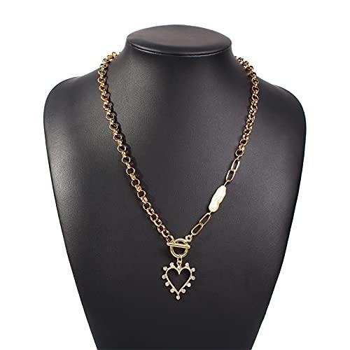 Collares, bohemio corazón imitación perlas colgante collar para las mujeres punk multicapa cadena de oro cadena gargantilla collar joyería regalos Joyería de moda accesorios ( Metal Color : N2-1 )