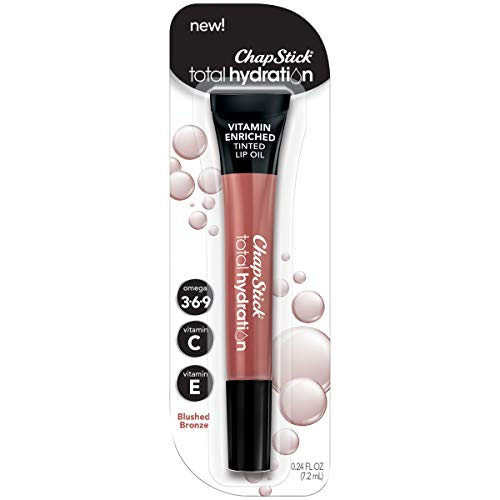 ChapStick Total Hydration Vitamin Enriched Tinted Lip Oil (Blushed Bronze, 1 Tube), Vitamin C, Vitamin E, Contains Omega 3 6 9, 0.24 Ounce