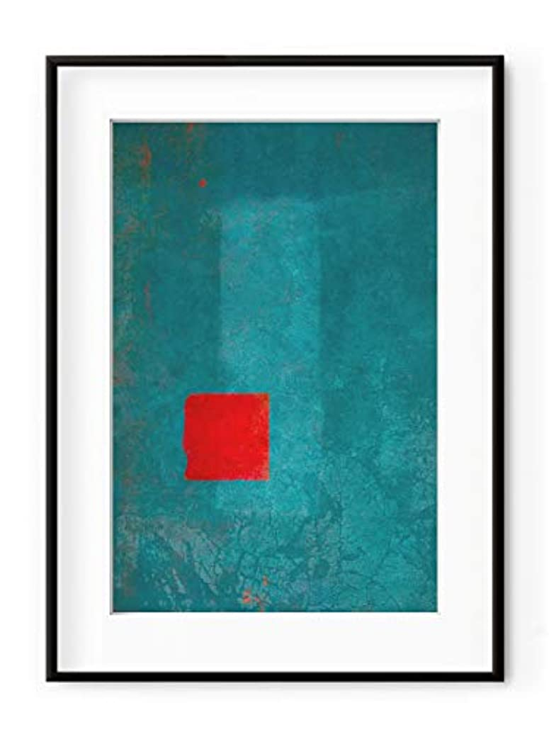 Red and Turquoise Abstract with White Lacquer Wooden Frame and Mount, Multicolored, 70x100