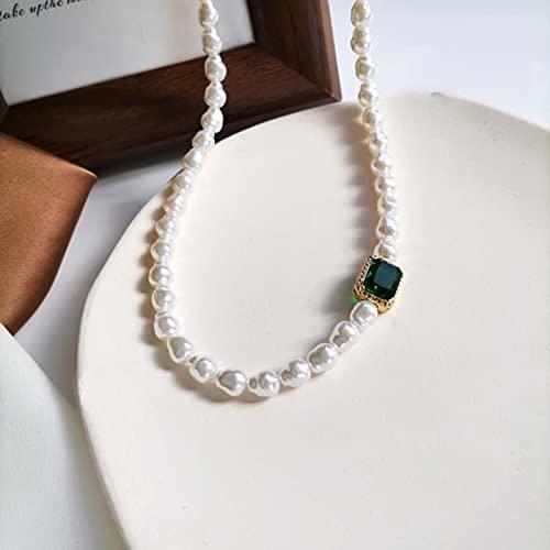 SONGK Moda Retro geometría Cuadrado Cristal Verde Barroco imitación Perla Collar de clavícula Corta para Mujer joyería de Novia
