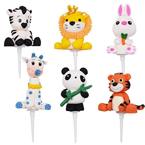 6PCS Animal Cupcake Toppers,OYSJ Decoraciones para Pasteles, Decoración de Cumpleaños para Niños, para Niños Ducha de Bebé Fiesta de Cumpleaños DIY Decoración Suministros