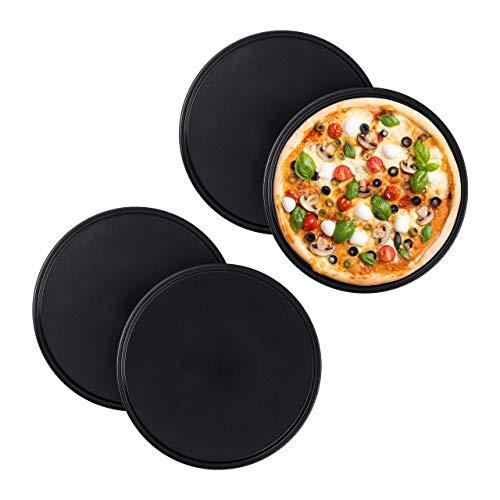 Relaxdays 4 x Pizzablech, rund, antihaftbeschichtet, Pizza & Flammkuchen, Carbonstahl, Pizzaform, ∅ 32 cm, Pizzabackblech, grau