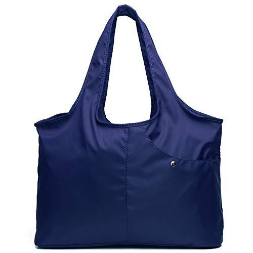 Nylon Tote Bag for Women Ladies Waterproof Canvas Diaper Shoulder Bag Lightweight Handbags for Gym Travel Work Shopping