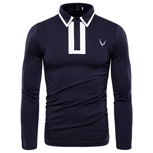 Zylione Herren Poloshirt Langarmhemd aus Baumwolle Herbst Beiläufige Dünne Hülsen-Knopf-Hemd-Spitzenbluse Art- und Weisemänner Stehkragen Poloshirt Klassisches Polohemd Shirt mit Polokragen für Sport