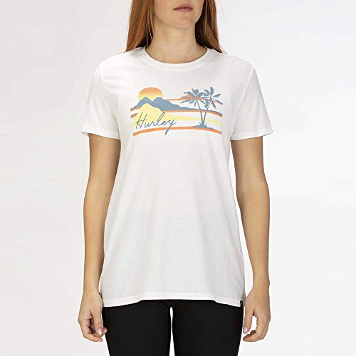 Hurley W Mellowin Perfect Crew Tee-Shirts Femme White FR: L (Taille Fabricant: L)